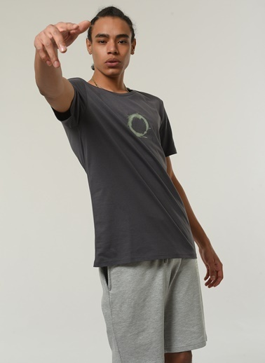 People By Fabrika Erkek Baskılı  Tişört PFESS21TS0033 Antrasit